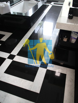 absolute black granite slab floor with white quartzite bands Perth