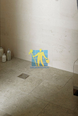 limestone tiles shower moleanos blue Perth cleaning