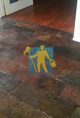 dirty and dull looking slate tiles requires stripping and sealing Perth cleaning