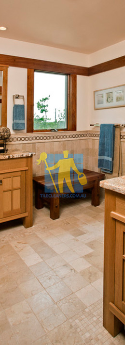 travertine tiles floor bathroom tumbled with mosaic corner wooden cabinets Perth